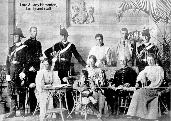 Lord and Lady Hampden, family and staff