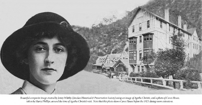 Composite image of Agatha Christie and Caves House in 1922
