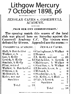 Jenolan cricket results October 1898