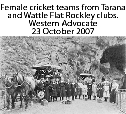 Female cricket team played at Jenolan in 1899.