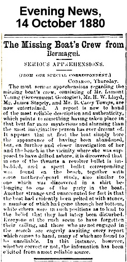 Evening News 14 Oct 1880 - Disappearance of Lamont Young