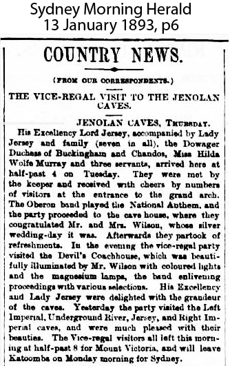 Earl Jersey visited Jenolan Caves in 1893