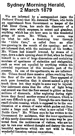 announcement of Wilson's Imperial cave discovery in Sydney Morning Herald, 2 March, 1879