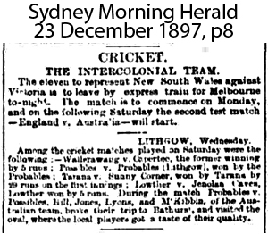 First newspaper mention of Jenolan Cave Cricket Club, in 1897.